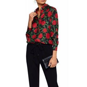 Alexander wang rose print silk shirt size 0